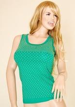 Top Canotta donna verde cotone elasticizzato estiva con borchie-chiodini oro
