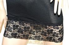 TOP LUNGO NERO canotta donna maglietta sottogiacca pizzo ricamato cotone A36