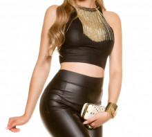 TOP NERO FILI ORO donna canotta corta sottogiacca elasticizzato maglietta giromanica elegante AZ34