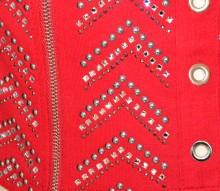 TOP ROSSO canotta donna maglia bustino corpetto strass chiodini borchie zip G50