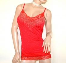 TOP ROSSO donna canotta pizzo ricamato strass maglietta sottogiacca cerimonia sexy scollo V elegante A6