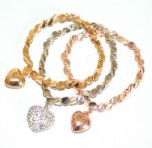 TRIS BRACCIALI donna argento oro dorato rosa strass ciondoli cuori charms cuoricini V9