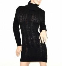 VESTITO abito a maglia tricot donna NERO lana maxi pull maglione collo alto made in italy G56