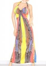 Vestiti Colorati Eleganti.Vestito Abito Lungo Donna Colorato Incrociato Schiena Nuda