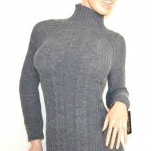 062abfdd4efe34 VESTITO GRIGIO abito a maglia lungo donna lana collo alto manica lunga made  in Italy G68. prev