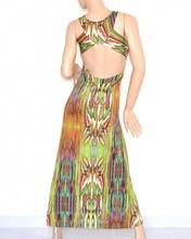 ... VESTITO LUNGO ELEGANTE donna maxi abito verde multicolore fantasia  scollatura incrocio schiena nuda cerimonia da sera 105A. prev. next. prev a478962f22a
