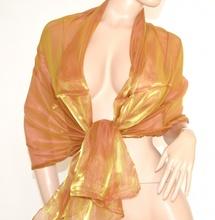 STOLA FOULARD da CERIMONIA donna ORO AMBRATO coprispalle ELEGANTE metallizzato tinta unita x abito vestito da sera