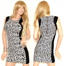 ABITO TUBINO donna nero bianco miniabito mini dress vestito corto da sera sexy zip oro vestido mujer 74