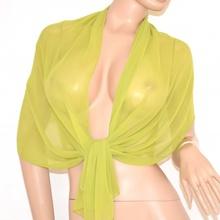 Stola coprispalle donna foulard seta cerimonia x abito da sera verde elegante tinta unita velato x vestito 105R
