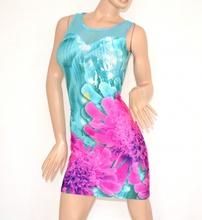 MINI ABITO tubino vestito donna abitino giromanica corto floreale a rete azzurro rosa elasticizzato estivo copricostume 100A