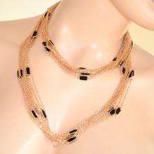COLLANA donna ORO ROSA GIROCOLLO Elegante con FILI anelli PIETRE NERE collier necklace 270A
