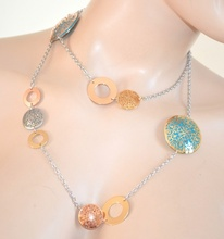 COLLANA LUNGA ARGENTO donna ciondoli oro filigrana rosa turchese necklace 300