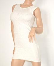 Vestito donna elegante abito miniabito BIANCO mini dress floreale tubino da sera sexy zip oro 79