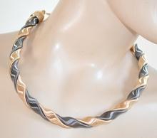 COLLANA donna girocollo ORO NERO collarino rigido elegante ondulato collier necklace H1