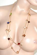 COLLANA LUNGA donna oro dorata cristalli cuori elegante collier cerimonia F225