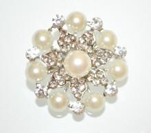 SPILLA ARGENTO PERLE donna fiore strass cristalli fermaglio scialle sposa CC4
