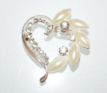 SPILLA donna argento perle cuore strass cristalli fermaglio elegante CC30