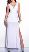 ABITO LUNGO BIANCO donna vestito decoltè cristalli giromanica cerimonia dress A25