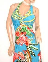 ABITO LUNGO vestito donna AZZURRO CORALLO strass da sera elegante sexy scollatura E170