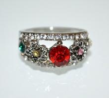 ANELLO argento fedina donna strass cristalli rosso rosa blu veretta ring obroč A35-6