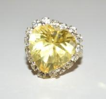 ANELLO donna argento cristallo fedina cuore giallo strass regolabile regalo anillo BB8