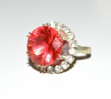 ANELLO donna argento rosa fucsia brillanti strass regolabile san valentino ring A4