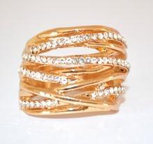 ANELLO donna ORO veretta STRASS fedina cristalli dorato elegante da cerimonia E05