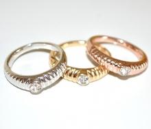 ANELLO donna SET 3 ANELLI fedine cristalli brillante argento oro giallo\rosa eleganti da cerimonia ring anillo 31