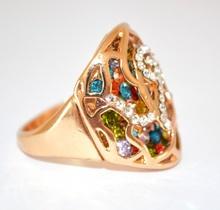 ANELLO ORO strass donna BRILLANTINI fedina dorato CRISTALLI ring inel anneau 160