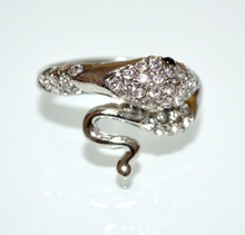 ANELLO SERPENTE argento strass donna fedina sexy ondulata idea regalo ring A29