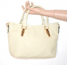 BORSA AVORIO donna eco pelle tracolla metallo oro bauletto sac bag bolsa E20