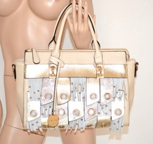 BORSA PELLE donna BEIGE oro shopper ecopelle bolsa bag sac alta qualità 940