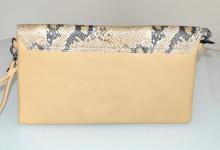 BORSELLO BEIGE donna borsa eco pelle stampa rettile argento pochette borsetta tracolla bolsa G98