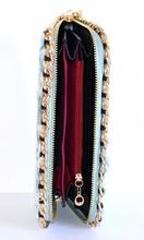 BORSELLO donna jeans portafoglio a mano pochette catena oro mini clutch bag 1310