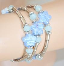 BRACCIALE argento azzurro donna elastico cristalli fiori madreperla a molla 85N