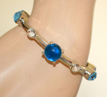 BRACCIALE argento donna cristalli blu azzurri celesti rigido elastico strass elegante V7