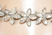 BRACCIALE donna ARGENTO strass sposa fiori cristalli elegante cerimonia E140