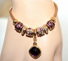 BRACCIALE donna ciondoli oro strass cristallo pietra viola ametista charms pendenti BB35