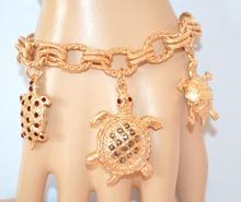 BRACCIALE donna ORO CIONDOLI TARTARUGHE anelli STRASS pulsera bracelet 500