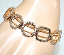 BRACCIALE donna oro dorato ciondoli anelli argento strass fili semi rigido G29