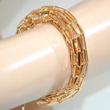 BRACCIALE donna oro dorato maglia semi rigida traforata elegante cerimonia G2