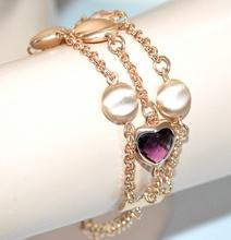 BRACCIALE donna oro pietre satinate cristalli verde viola ambra cuori elegante bigiotteria F225