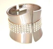 BRACCIALE donna rigido ARGENTO a schiava CRISTALLI STRASS acciaio satinato bracelet 470A