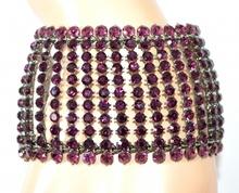 BRACCIALE donna STRASS VIOLA GLICINE grigio cristalli damigella elegante bracelet F135