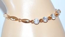 BRACCIALE donna TENNIS CRISTALLI elegante ORO dorato acciaio strass diamanti E14