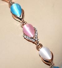 BRACCIALE donna tennis oro dorato pietre azzurre rosa beige strass regalo A25