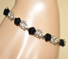 BRACCIALE NERO argento trasparente donna strass cristalli fiori rose elegante BB2