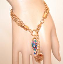 BRACCIALE ORO donna ciondolo charms strass pietre blu viola azzurro dorato multi fili elegante N25