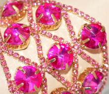 BRACCIALE ORO donna CRISTALLI ROSA FUCSIA dorato strass brillantini elegante pink armband frau S86