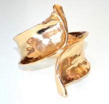 BRACCIALE ORO dorato donna rigido a schiava metallo lucido elegante bracelet BB30